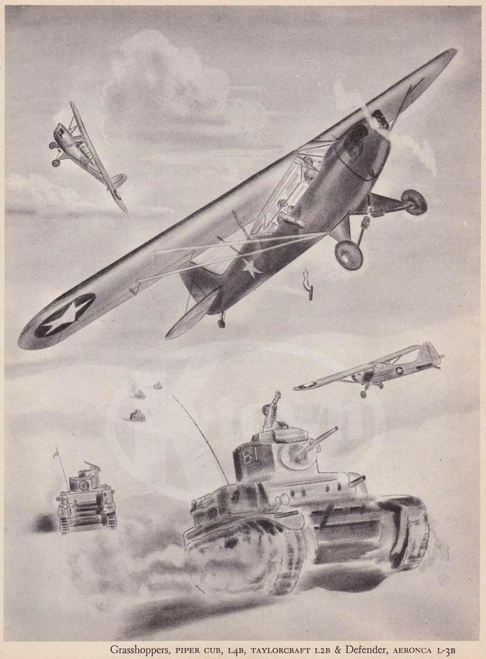 Grasshoppers Piper L4B, Taylorcraft L2B и Aeronica L-3B - самолеты-разведчики и корректировщики артиллерийского огня