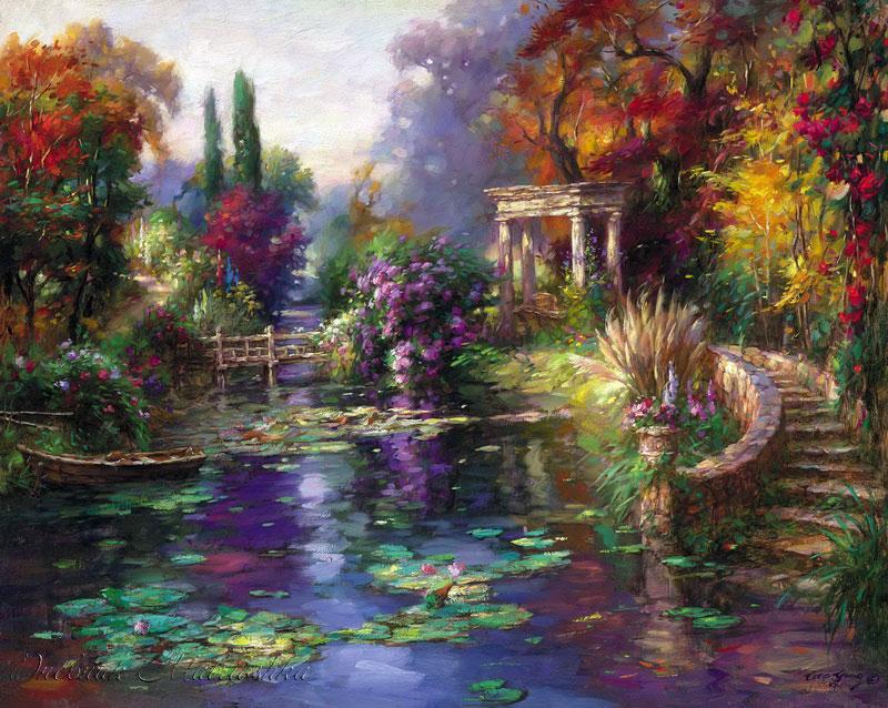 Twilight In Koi Pond >> Художник Цао Йен (Cao Yong)