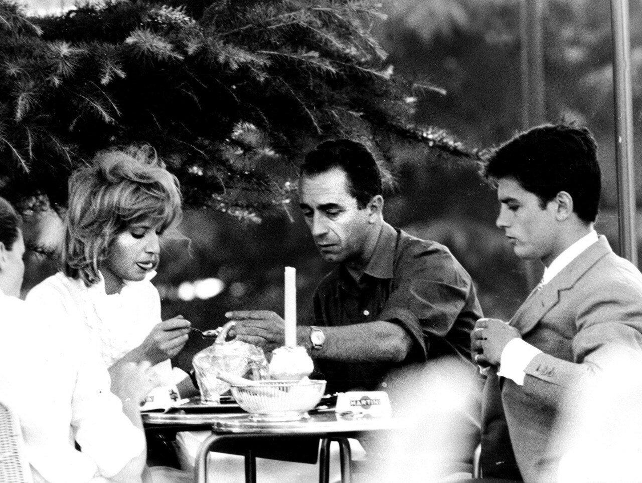 1962. На съемках «Затмения» с Моникой Витти и Микеланджело Антониони