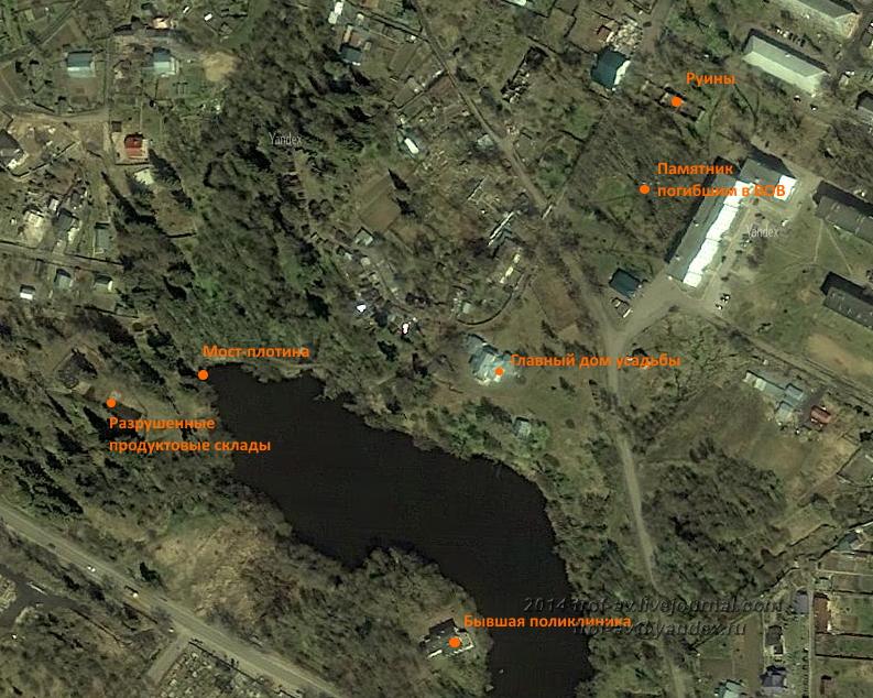 Схема усадьбы Покровское-Засекино