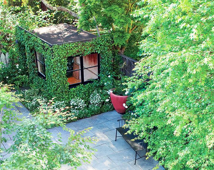 Зеленая студия из обычного сарая