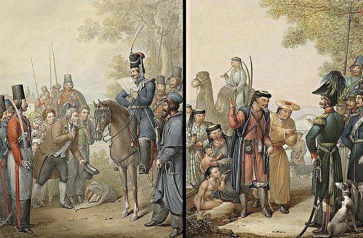Русские казаки и проситель, Казаки и калмыки.png
