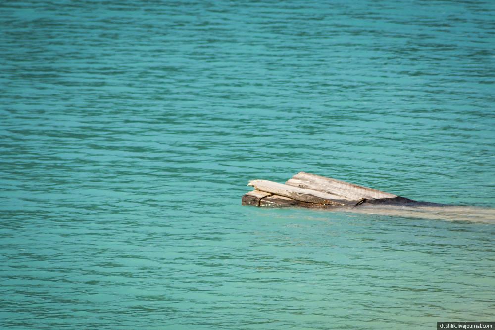 Необычно яркий цвет воды кыштымского карьера Бали (10.10.2014)