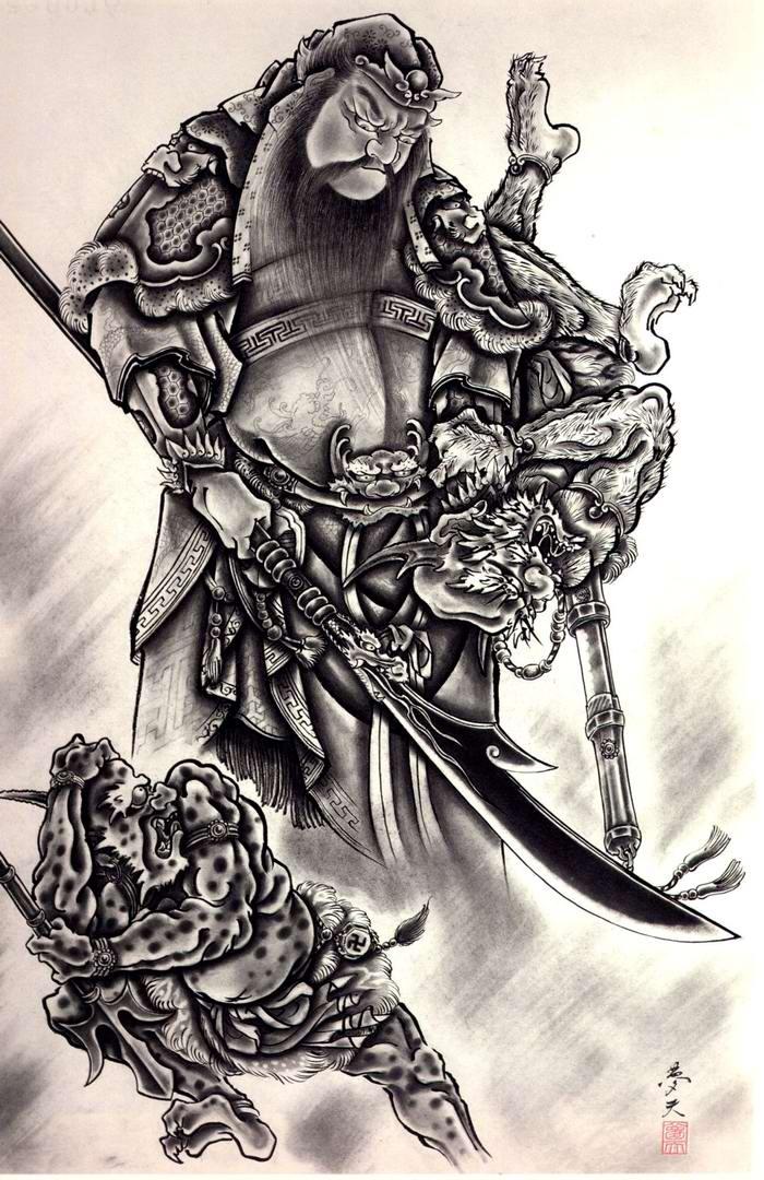 Злобные демоны на эскизах татуировок японского художника Horiyoshi (1)