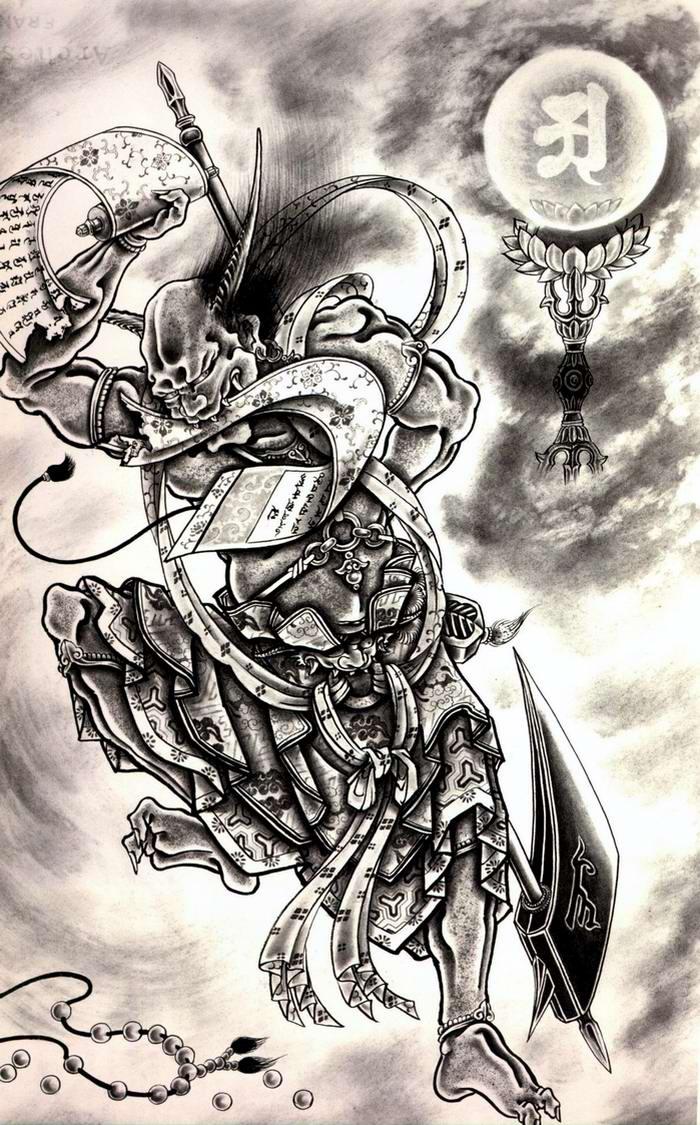 Злобные демоны на эскизах татуировок японского художника Horiyoshi (61)