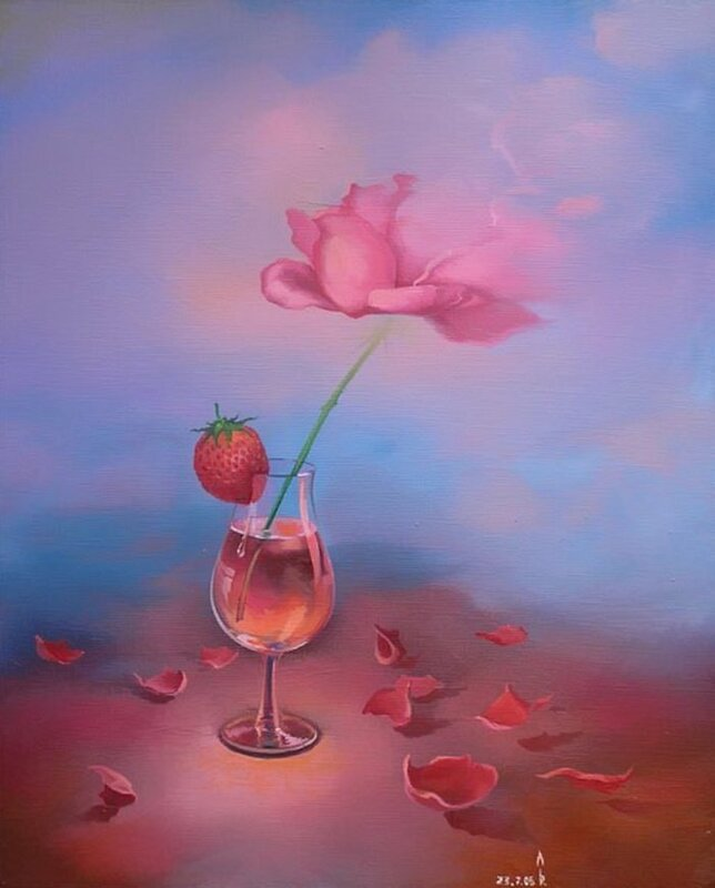 В бокале, выпитом до дна, осталась маленькая капля. Художник Роман Величко