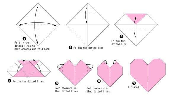 Сердечки из бумаги оригами схемы