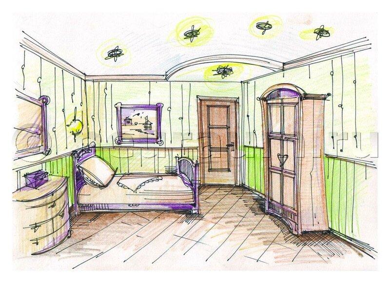 Интерьер дома с рисунками