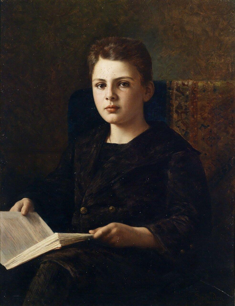 Портрет Оскара фон Френкеля с книгой в руках_1898_88 x 64_х.,м._Частное собрание