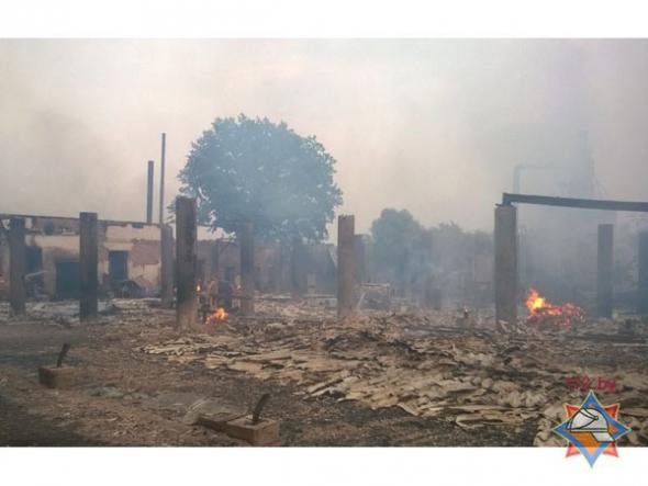 В Столине сгорел деревообрабатывающий цех