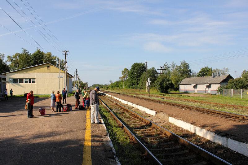 Станция Плюсса, вид на Псков