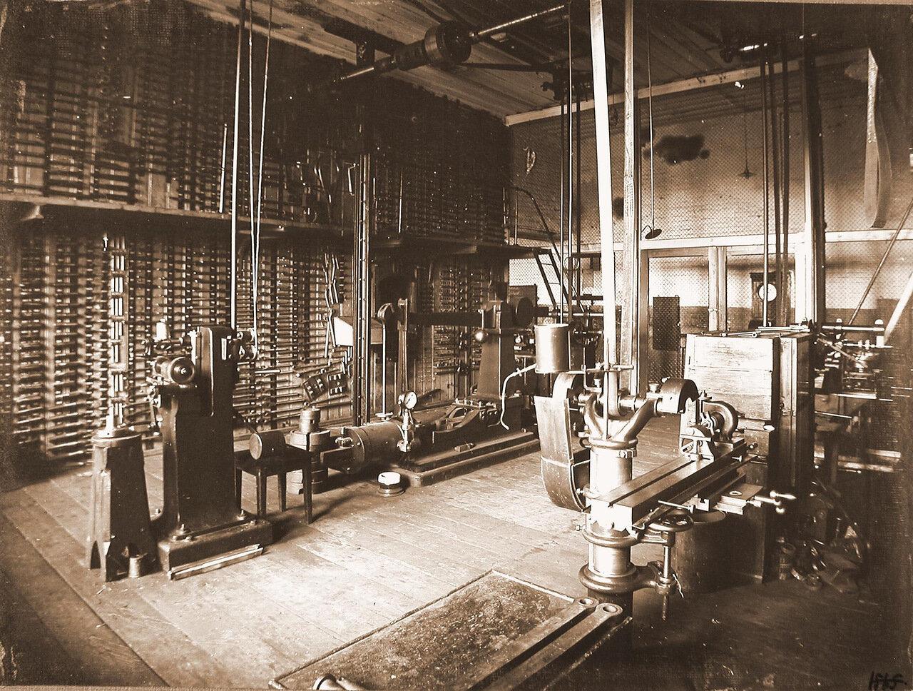 32. Вид станков (на первом плане) и инструментов плашек для нарезки внутренней и наружной резьбы в одном из цехов мастерской.