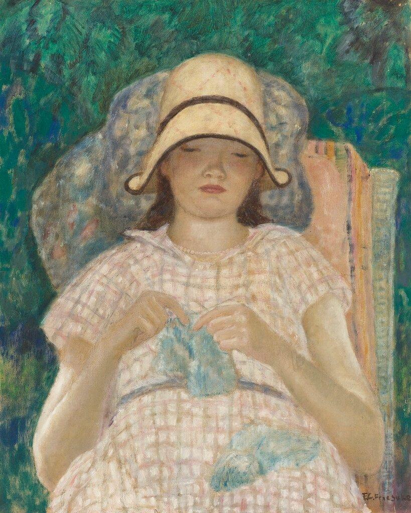 Frederick Carl Frieseke - Girl Knitting, 1928.jpg