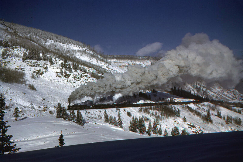 Train pulling on Tennessee Pass above the Pando Valley, Denver & Rio Grande Western, February 7, 1944
