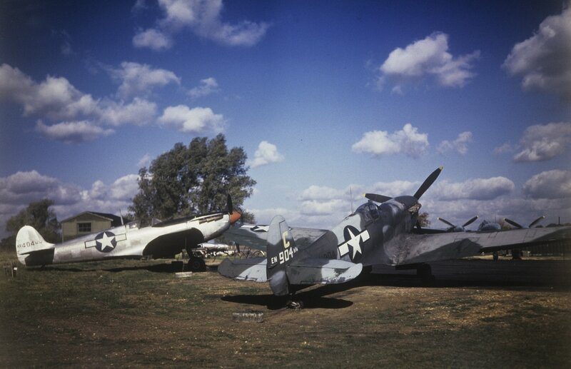 Two Mark V Spitfires (sn EN904, 'War Weary') and (sn AR404, 'War Weary') of the 7th Photographic Reconnaissance Group at Mount Farm