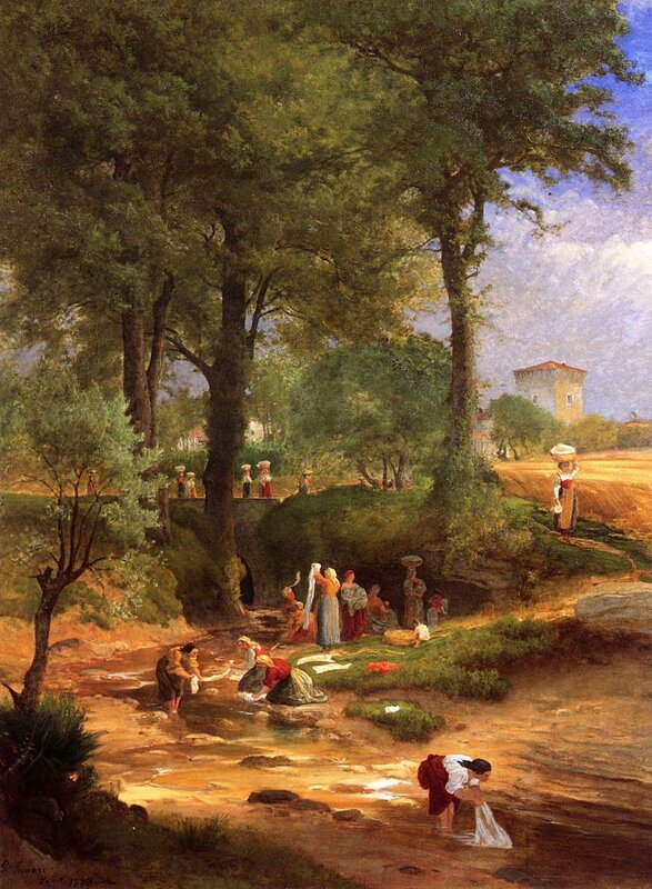 Inness George. Washing Day near Perugia aka Italian Washerwomen