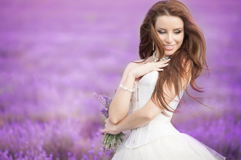 Bride in wedding day in lavender field