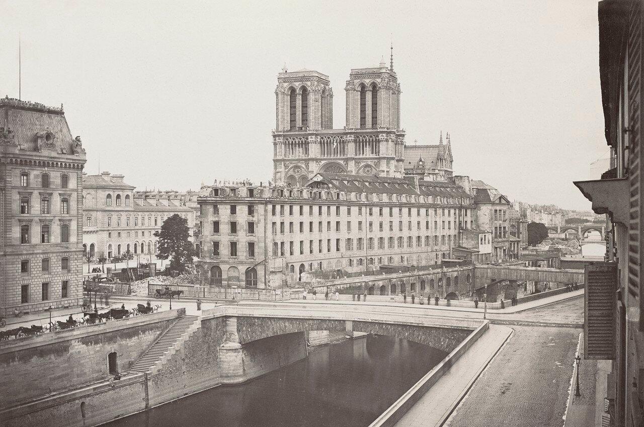 1870-е. Вид на Сену и Отель-Дьё
