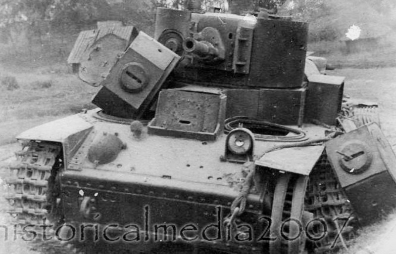 Подбитый танк Т-28э из 3-й тд 1-го мк Северо-Западного фронта.