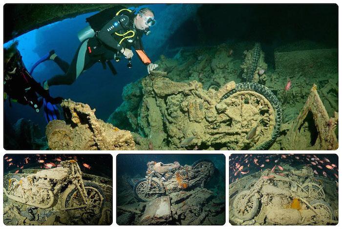 Старинные мотоциклы на дне Красного моря