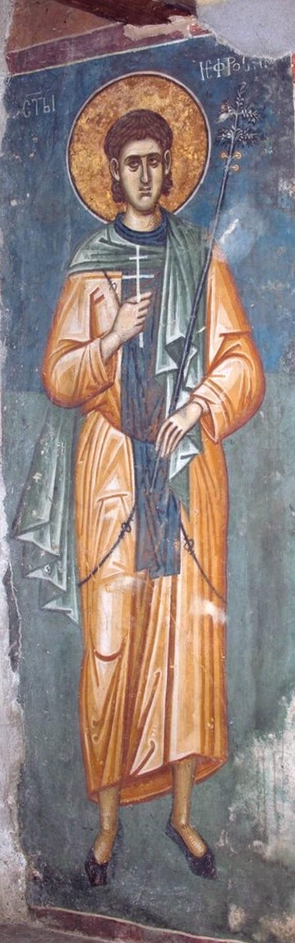 Святой Преподобный Евфросин Палестинский, повар. Фреска монастыря Высокие Дечаны, Косово, Сербия. Около 1350 года.