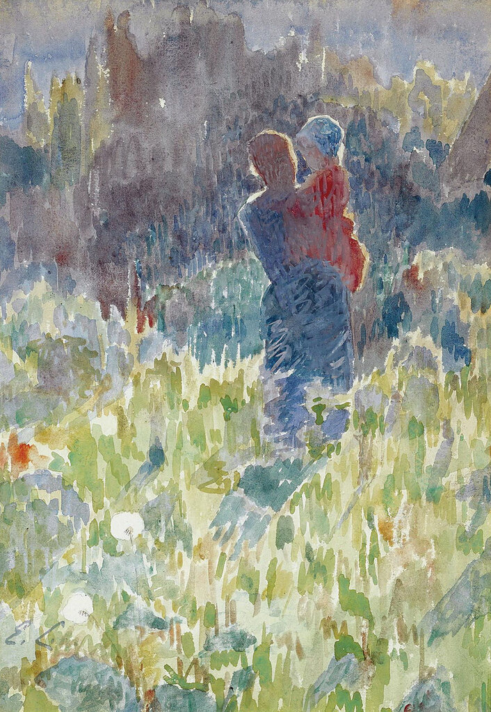 Emile Claus - Mother and Child in a Sunlit Garden.jpeg