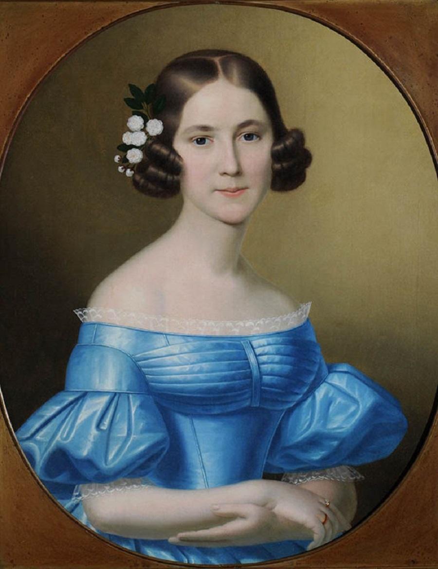 Неизвестный художник. Портрет А. М. Апраксиной. Около 1850.  Холст, масло..jpg