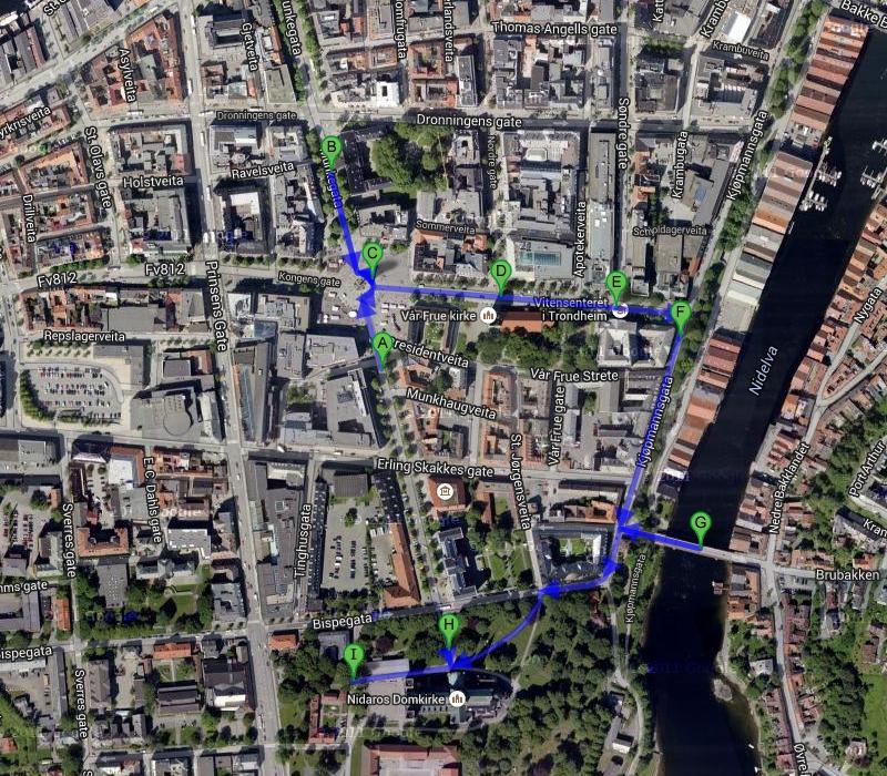Маршрут прогулки по Тронхейму