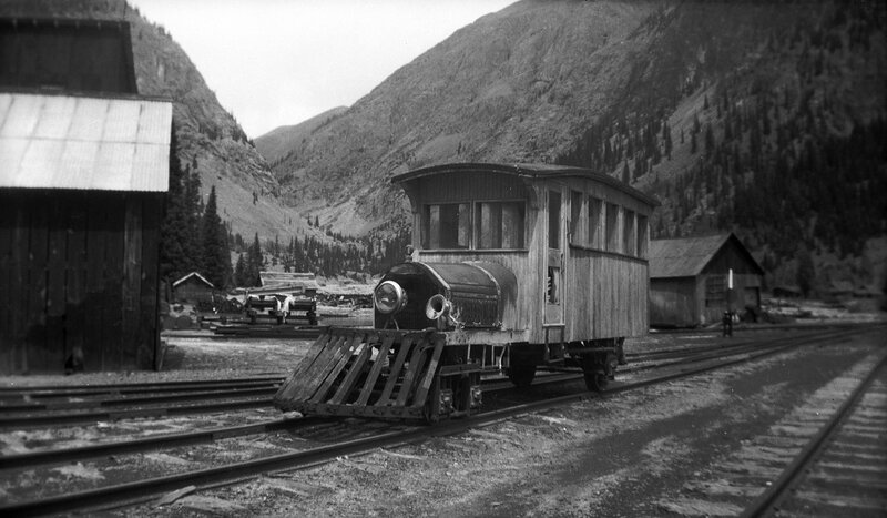 Eureka, Colorado, used an amalgam of train and automobile parts to create what was called a 'Casey Jones.' It was used to convey people to Silverton and back, and made the eight mile run downhill in a scant twenty minutes. 1942