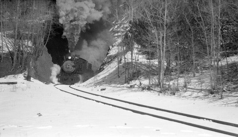 Midland Terminal train, engine number 59, engine type 2-8-0, south of Midland, Colo., February 6, 1949