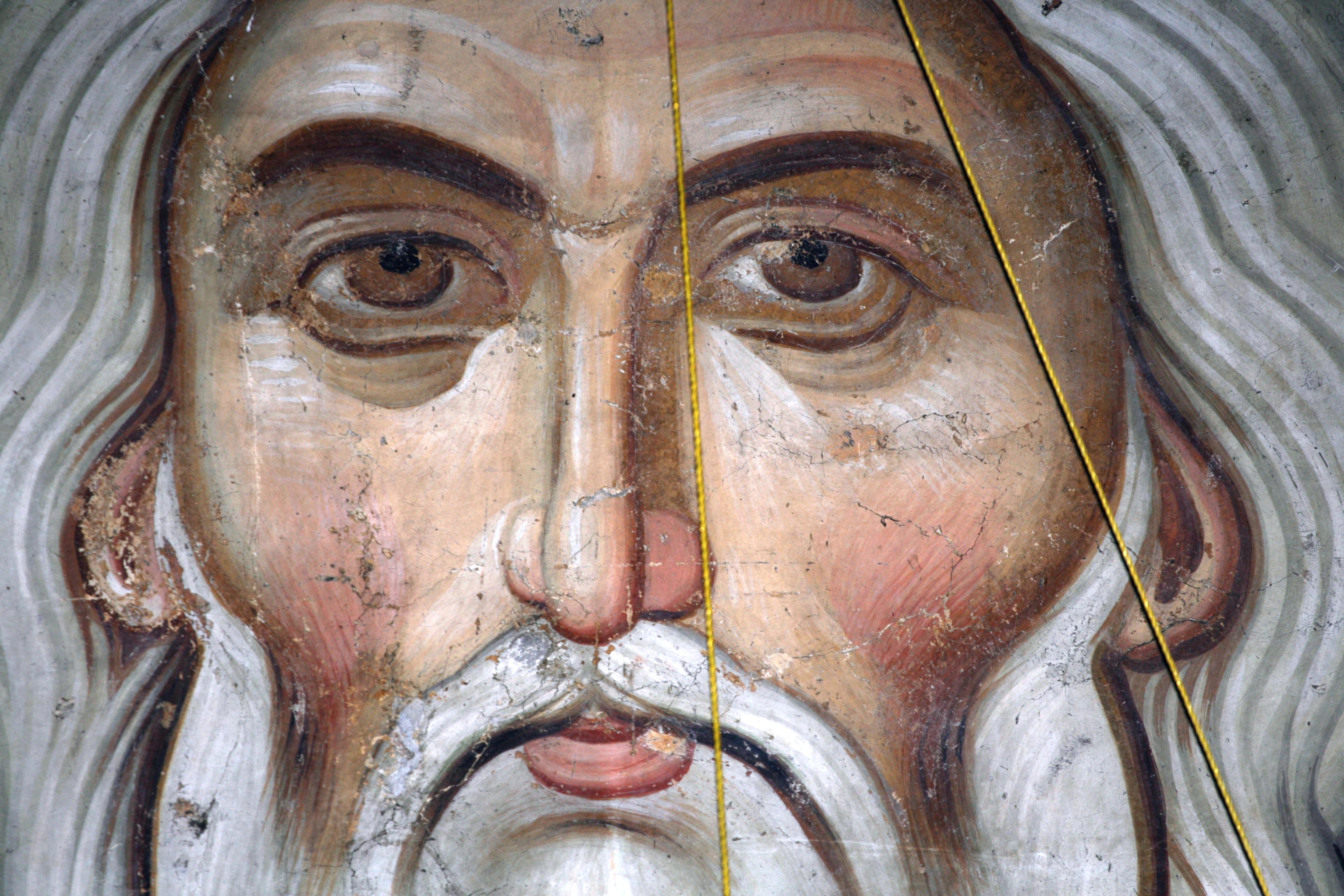 Христос Ветхий денми. Фреска XIV века в нартексе (притворе) комплекса Печской Патриархии, Косово, Сербия. Фрагмент.
