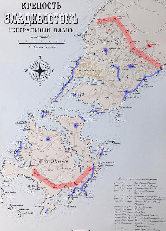 Карта объектов Владивостокской крепости