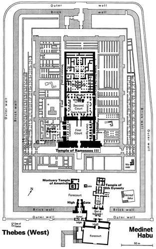 Дворец Рамсеса III в Мединет-Абу, план с экспликацией