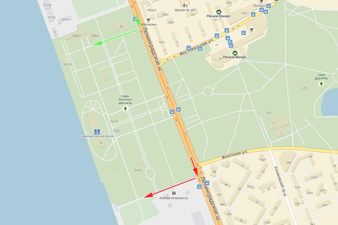 Карта местности Москва Северный речной вокзал