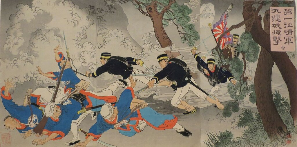 'Surprise_Attack_upon_the_Chinese_Army_at_Jiuliancheng'_by_Migita_Toshihide,_1894,_Honolulu_Museum_of_Art,_26854.JPG