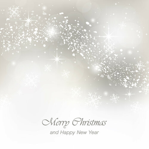 Christmas greeting card with snowfall, flakes and glow