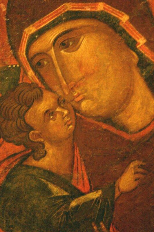 Богоматерь Елеуса. Икона XIV века. Византийский музей в Афинах. Фрагмент.