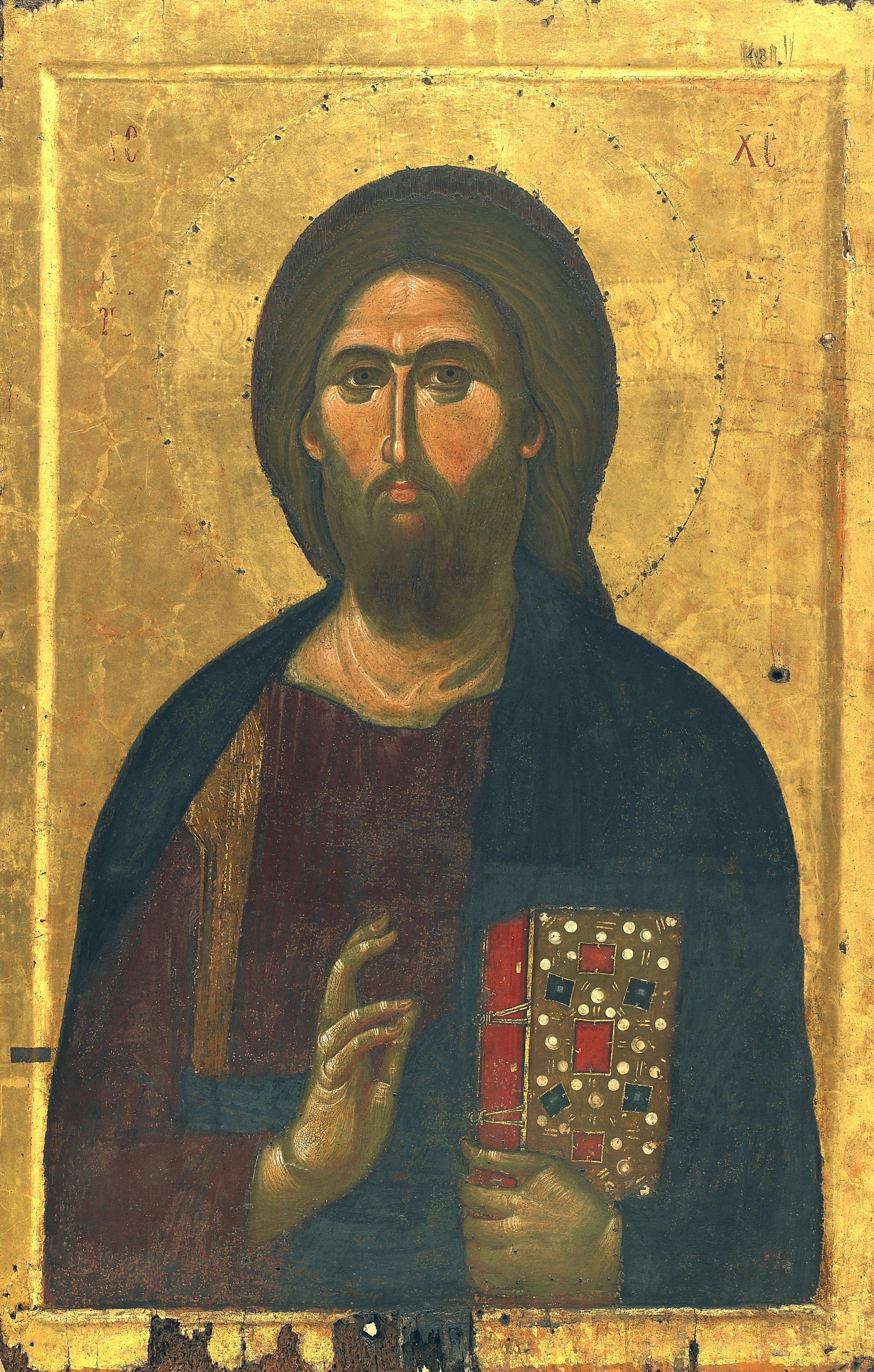 Христос Пантократор. Византийская икона в монастыре Ватопед на Святой Горе Афон.
