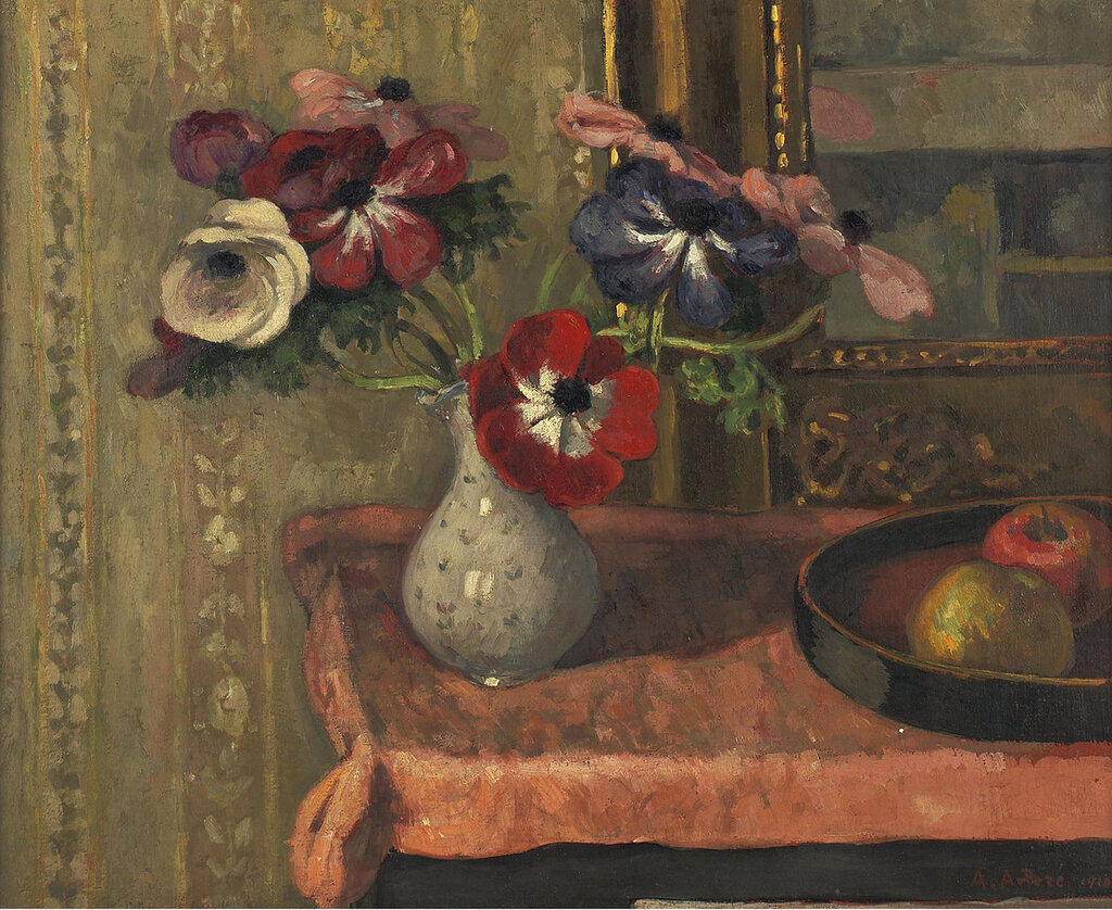 Albert Andre  - Still Life - Vase of Flowers and Fruits on the Table, 1910.jpeg