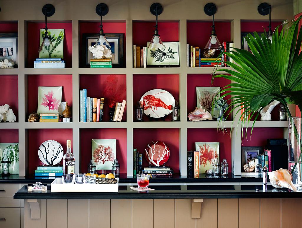 стеллаж, полки, красный фон, книги. тарелки, сувениры, пальма, интерьер