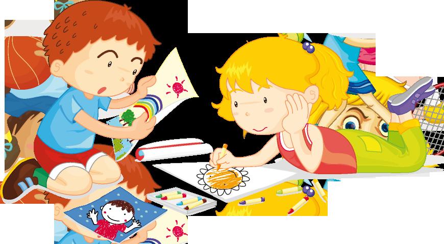 Ребенок рисует клипарт на прозрачном фоне