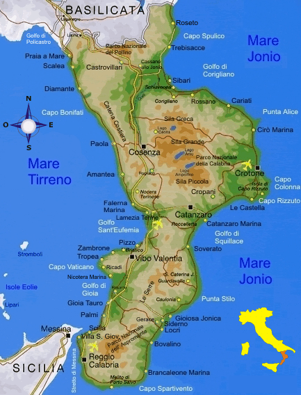 Карта Калабрии