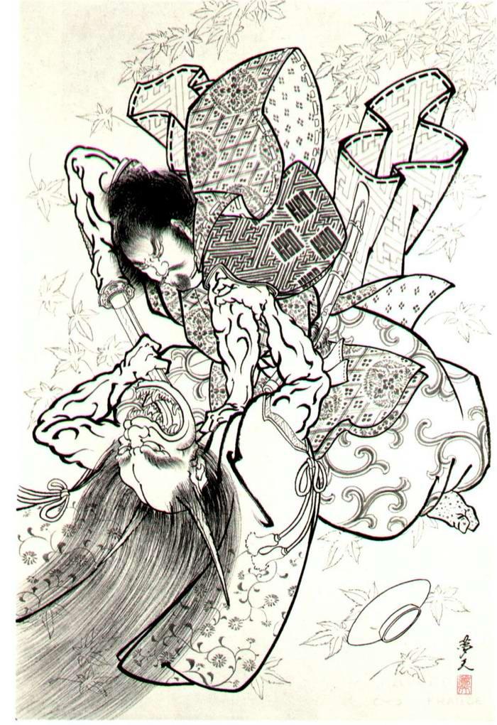 Злобные демоны на эскизах татуировок японского художника Horiyoshi (6)