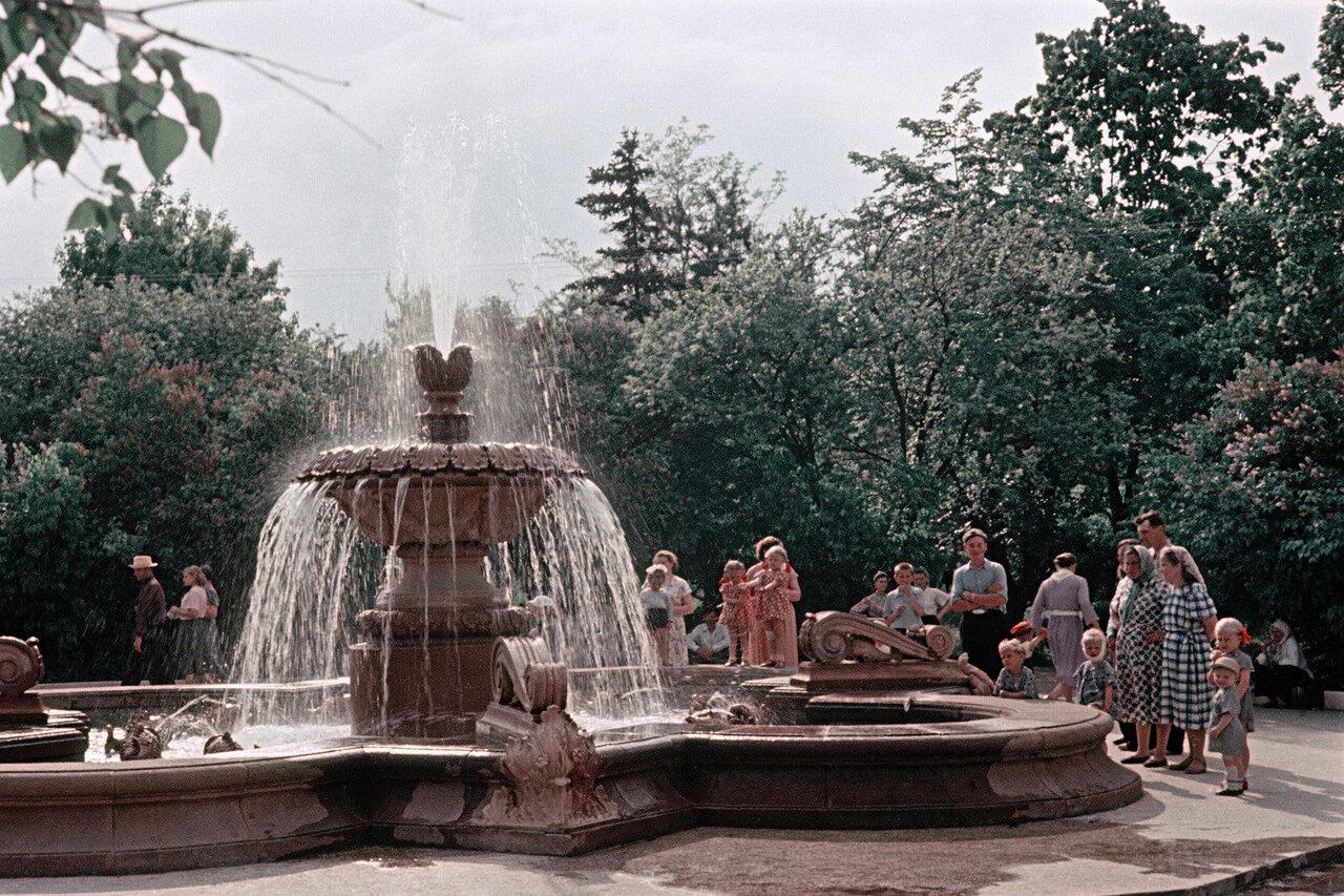 В Центральном парке им. Сталина. У фонтана