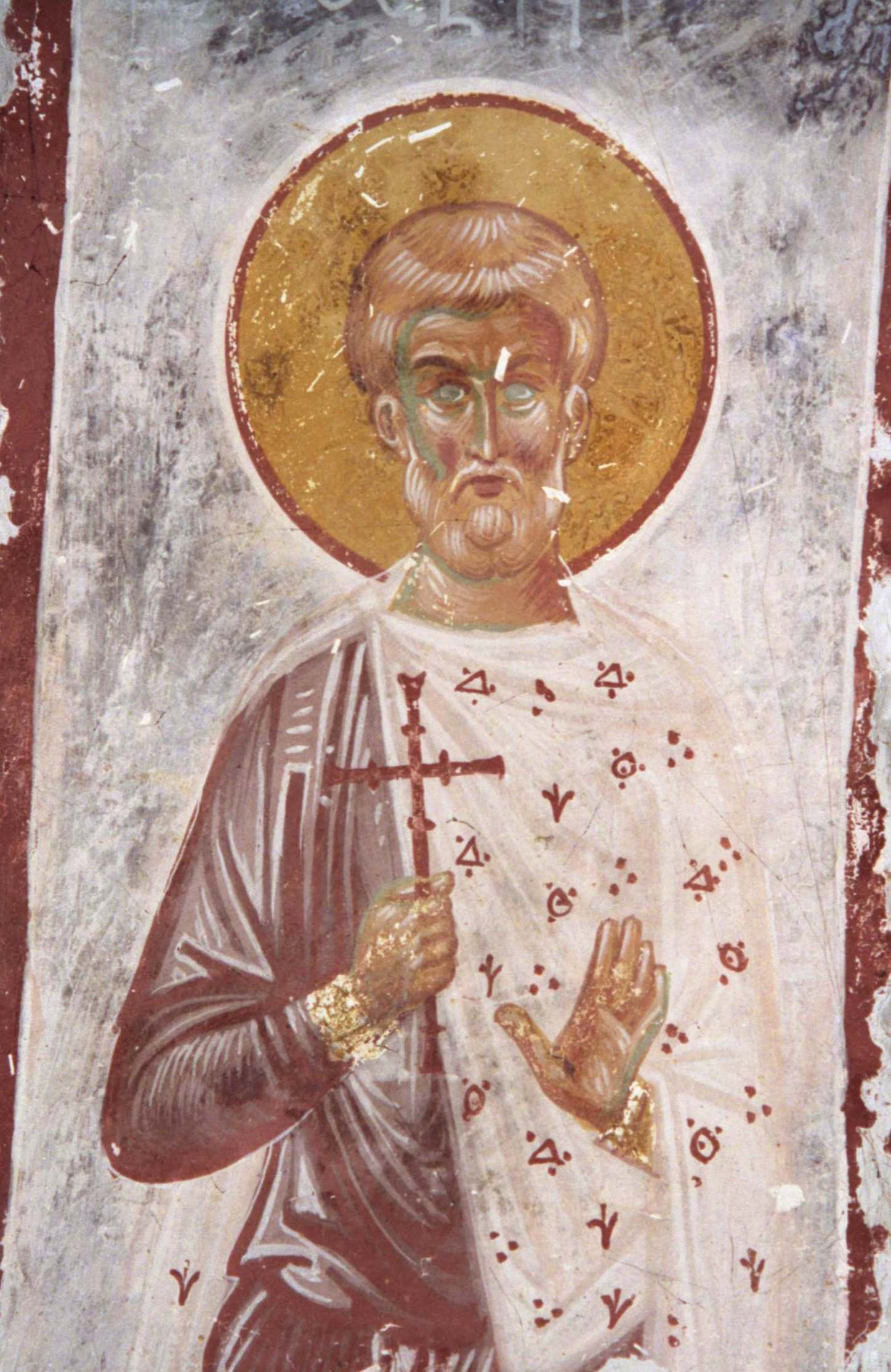 Святой мученик Зотик. Фреска собора Христа Спасителя в Цаленджихе, Грузия. XIV век.