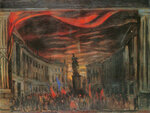 В.В.Дмитриев. Эскиз декорации к 3-му действию балета «Пламя Парижа»