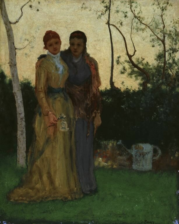 Two Sisters in the Garden, oil on millboard, 1882