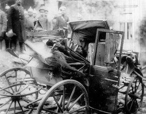 Карета, пострадавшая от взрыва на даче П.А.Столыпина на Аптекарском острове.