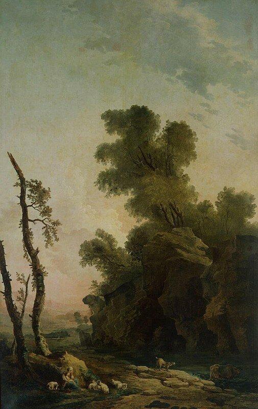 Юбер Робер (Hubert Robert), Пейзаж со скалами, 1773