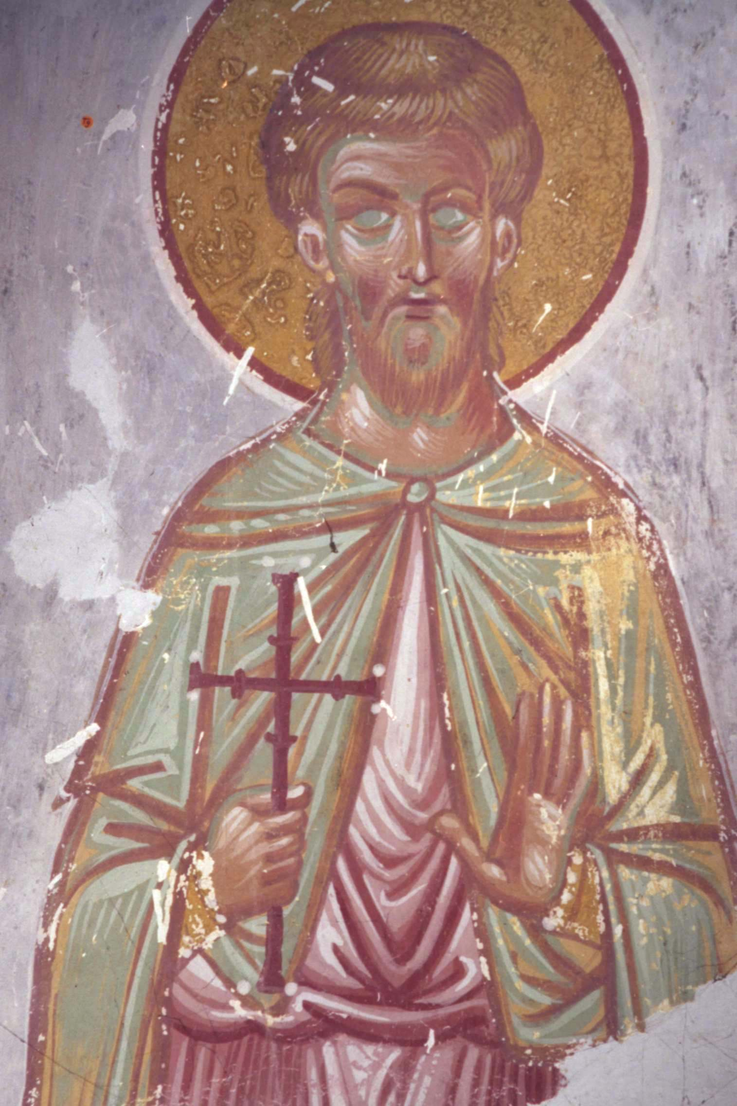 Святой Мина. Фреска собора Христа Спасителя в Цаленджихе, Грузия. XIV век. Фрагмент.